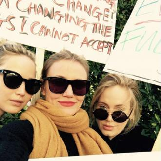 Adele Unites With Cameron Diaz And Jennifer Lawrence At Women's March