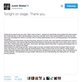 Justin Bieber Pens Message To Fans
