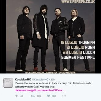 Kasabian announce 2017 tour dates