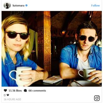 Kate Mara and Jamie Bell show off wedding rings