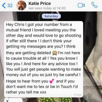 Chris Hughes Shares Katie Price's 'Flirty' Texts