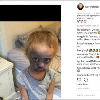 Kerry Katona's daughter raids make-up