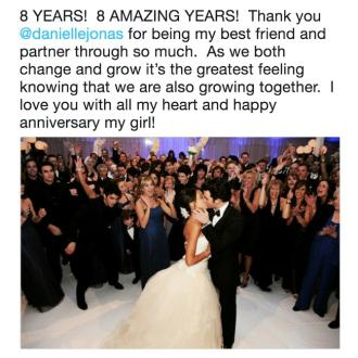 Kevin Jonas pays tribute to wife for 8th anniversary