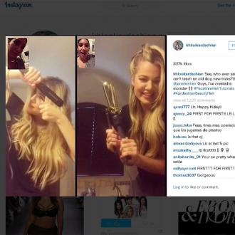Khloe Kardashian Gets Hair Tutorial