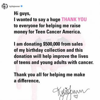 Kylie Jenner donates $500,000 to Teen Cancer America charity
