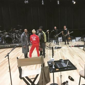 Lady Gaga rehearses for Super Bowl
