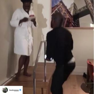 Leslie Jones celebrates 50th birthday with a dance off