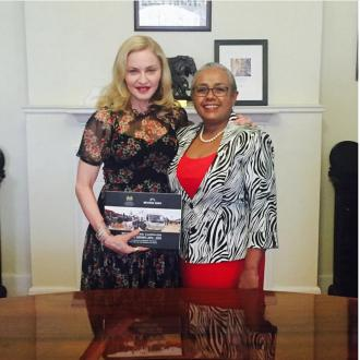 Madonna meets the 'first lady of Kenya' Margaret Kenyatta