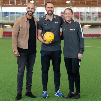 Marvin Humes and Gareth Southgate encourage kids to play football