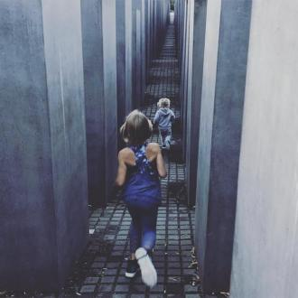 Pink defends picture of kids running at Berlin's Holocaust Memorial