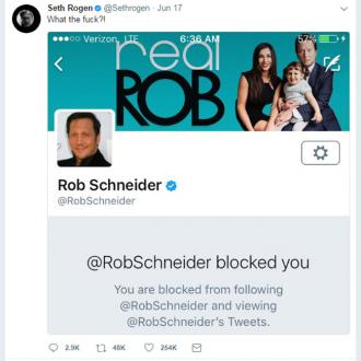 Seth Rogen was blocked on social media by Rob Schneider