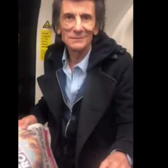 Ronnie Wood rides tube to BRITs