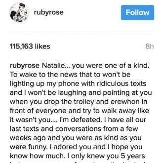 Ruby Rose shares tribute to late friend