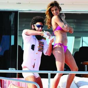 General Aladeen Boards Yacht With Elisabetta Canalis