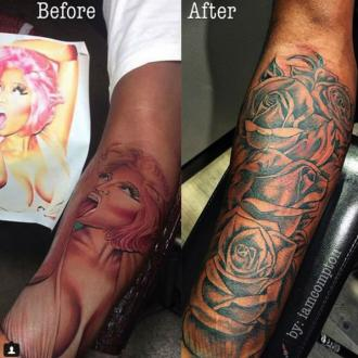 Nicki Minaj's Ex Covers Up Tattoo Of Her Face