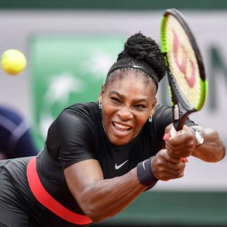 Serena Williams works on the road