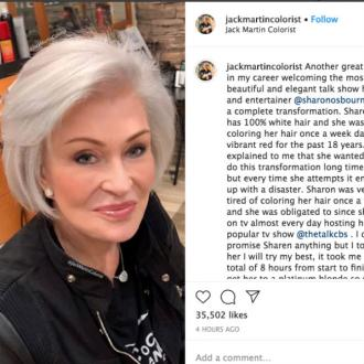 Sharon Osbourne dyes hair platinum blonde