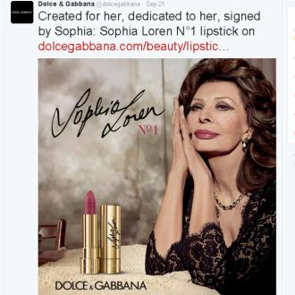 Sophia Loren honoured with Dolce and Gabbana lipstick