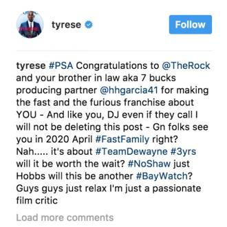 Tyrese Gibson blames Dwayne Johnson for Fast and Furious 9 delay