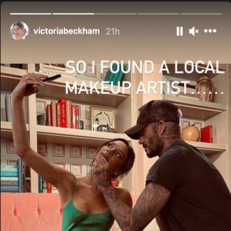 David Beckham applies wife Victoria's lipstick for photoshoot