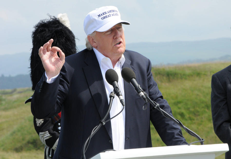 Donald Trump Disrupted By British Comedian's Nazi Golf Ball Stunt